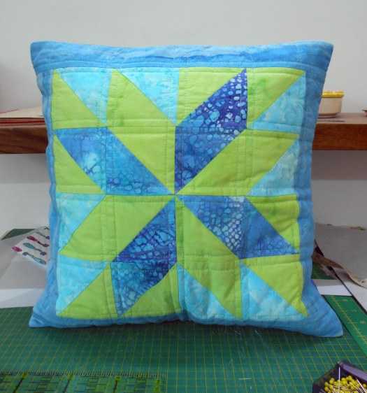 blue patchwork cushion cover 1